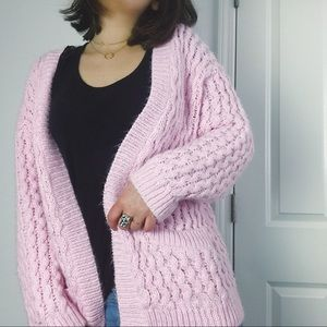 H&M Knit Sweater Cardigan Pink Woman's Oversized